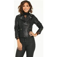 Myleene Klass Leather Biker Jacket - Black, Black, Size 8, Women