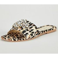 V by Very Aurora Embellished Slider Sandal - Animal, Animal, Size 4, Women