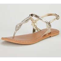 V by Very Twist Embellished Flat Sandal - Gold, Gold, Size 3, Women