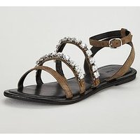 V by Very Aphrodite Embellished Strappy Flat Sandal - Khaki, Khaki, Size 7, Women