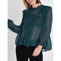 RI Petite Bib Front Blouse, Green, Size 10, Women