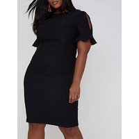 RI Plus Split Sleeve Midi Dress, Black, Size 22, Women
