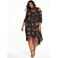 V by Very Curve Lace Insert Cold Shoulder Dress, Print, Size 18, Women