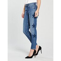 Tommy Jeans Slim Izzy Star Printed Jeans - Mid Blue, Galaxy Mid Blue Stretch, Size 12=30, Women