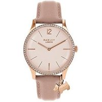 Radley Millbank Pale Pink Leather Strap Watch with Iconic Dog Charm, One Colour, Women