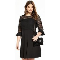 V by Very Curve Lace Top Frill Sleeve Dress, Black, Size 24, Women