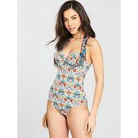 Lepel Lepel Paradise Moulded Halter Bandeau Swimsuit, Print, Size 36B, Women