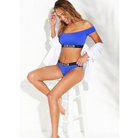 Calvin Klein Off Shoulder Bikini Top - Blue , Blue, Size S, Women
