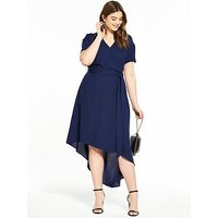 V by Very Curve CURVE Asymmetric Hem Wrap Dress, Navy, Size 26, Women