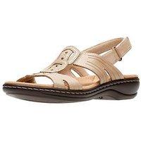 Clarks Leisa Vine Low Wedge Sandal - Sand, Sand Leather, Size 4, Women
