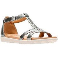 Clarks Un Reisel Mara Gladiator Flat Sandal - Pewter, Pewter, Size 4, Women