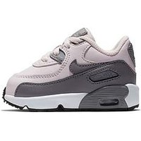 Nike Air Max 90 Leather Infant Trainer, Pink/Grey, Size 5