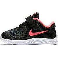 Nike Revolution 4 Infant Trainers - Black/Pink , Black/Pink, Size 8