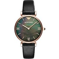Emporio Armani Rose Gold Stainless Steel Black Strap Ladies Watch, One Colour, Women