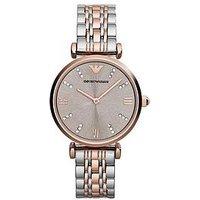 Emporio Armani 2-Tone Rose Gold Stainless Steel Bracelet Ladies Watch, One Colour, Women