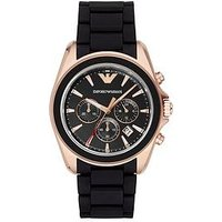Emporio Armani AR6066 Rose Gold Stainless Steel with Black Rubber Strap Gents Watch, One Colour, Men