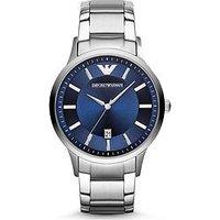 Emporio Armani AR2477 Stainless Steel Blue Dial Bracelet Gents Watch, One Colour, Men
