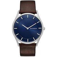 Skagen Skagen Holst stainless steel brown leather strap gents watch, One Colour, Men