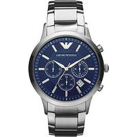 Emporio Armani Blue Chronograph Dial Stainless Steel Bracelet Men's Watch, One Colour, Men