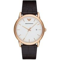Emporio Armani Rose Gold Stainless Steel Brown Leather Strap Gents Watch, One Colour, Men