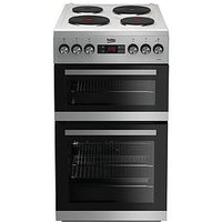 Beko Kdv555As 50Cm Double Oven Electric Cooker - Silver With Connection