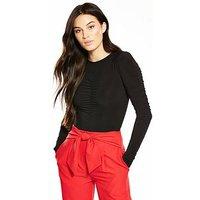 V by Very Ruched Bodysuit, Black, Size 12, Women