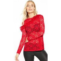 V by Very Frill Front Lace Top, Red, Size 22, Women