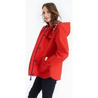 Joules Coast Waterproof Hooded Jacket - Red, Red, Size 12, Women