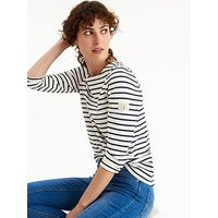 Joules Harbour Jersey Top - Cream/Navy Stripe, Cream Navy Stripe, Size 16, Women