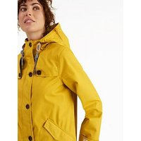 Joules Coast Waterproof Hooded Jacket- Yellow, Antique Gold, Size 12, Women