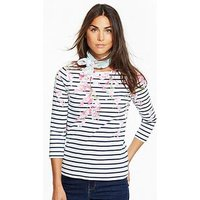 Joules Harbour Print Jersey Top - Navy Blossom Stripe, Navy Blossom Stripe, Size 18, Women
