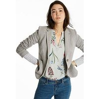 Joules Elice Jersey Blazer - Light Grey, Light Grey Multi Fleck, Size 8, Women