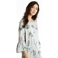 Joules Gardenia Frill Sleeve Woven Dress, Silver Botanical, Size 14, Women