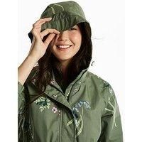 Joules Coastline Printed Waterproof Jacket, Laurel Botanical, Size 8, Women