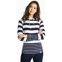 Joules Marlston Semi-fitted Hooded Sweatshirt - French Navy Stripe, French Navy Stripe, Size 16, Women