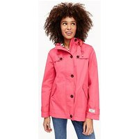 Joules Coast Waterproof Hooded Jacket, Red Skye, Size 10, Women