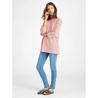 Joules Odessa Zip Back Sweatshirt, Rose Hip Stripe, Size 16, Women