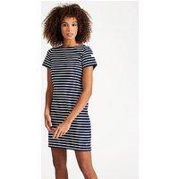 Joules Riviera S/s Jersey Dress, Hope Stripe French Navy, Size 18, Women