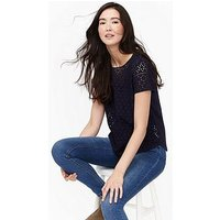 Joules Joules Nadine Broderie Front/jersey Back Top, French Navy, Size 12, Women