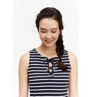 Joules Anita Jersey Tie Neck Dress, Hope Stripe French Navy, Size 12, Women