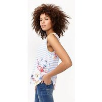 Joules Alyse Printed Cap Sleeve Top, White Stripe Floral, Size 14, Women