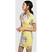 Joules Riviera Print S/s Jersey Dress, Lemon Whitstable Floral, Size 14, Women