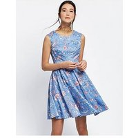 Joules Amelie Fit & Flare Dress - Blue, Blue Indienne Floral, Size 12, Women