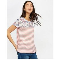 Joules Suzy Jersey Woven Mix T-shirt, White Indienne Floral, Size 10, Women
