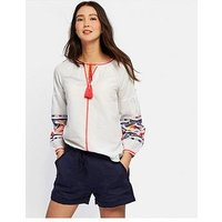 Joules Yolanda Long Sleeve Embroidered Shirt , Bright White, Size 18, Women