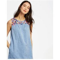 Joules Indria Embroidered Yoke Dress - Light Blue, Light Blue Steel, Size 10, Women