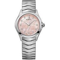 Ebel Wave Pink Dial Diamond Set Bezel Stainless Steel Ladies Watch, One Colour, Women