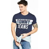 Tommy Jeans Colorblock Font T Shirt, Navy, Size L, Men