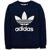 Boys, adidas Originals adidas Originals adicolor Childrens Trefoil Sweat top, Navy, Size 9-10 Years