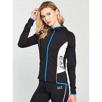 Emporio Armani EA7 Ventus 7 Zip Through Hoodie - Black , Black, Size L, Women